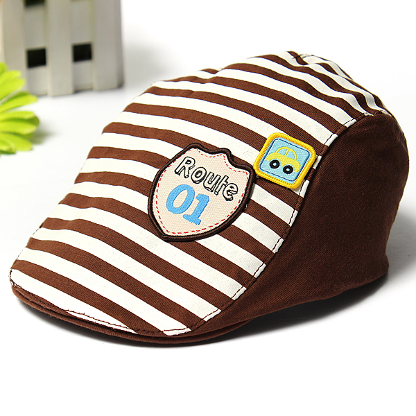 Baby Kids Baseball Cap Summer Hat Beret Cotton Stripe Beret Punk Cap