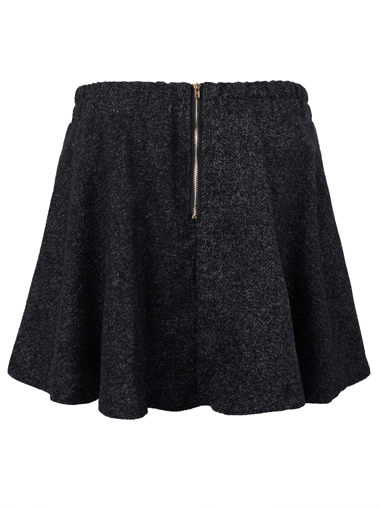 Elegant Women Warm Solid A-Line Back Zipper Pleated Woolen Skirt