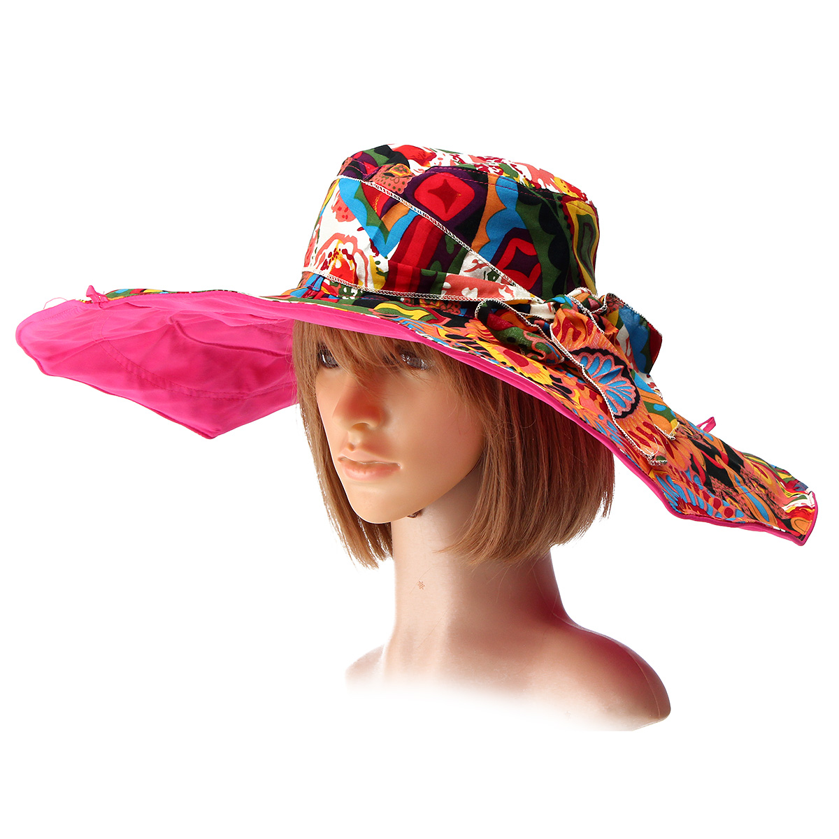 Women Summer Foldable Sun Hat Anti-UV Wide Large Brim Outdoor Beach Gardening Visor Cap