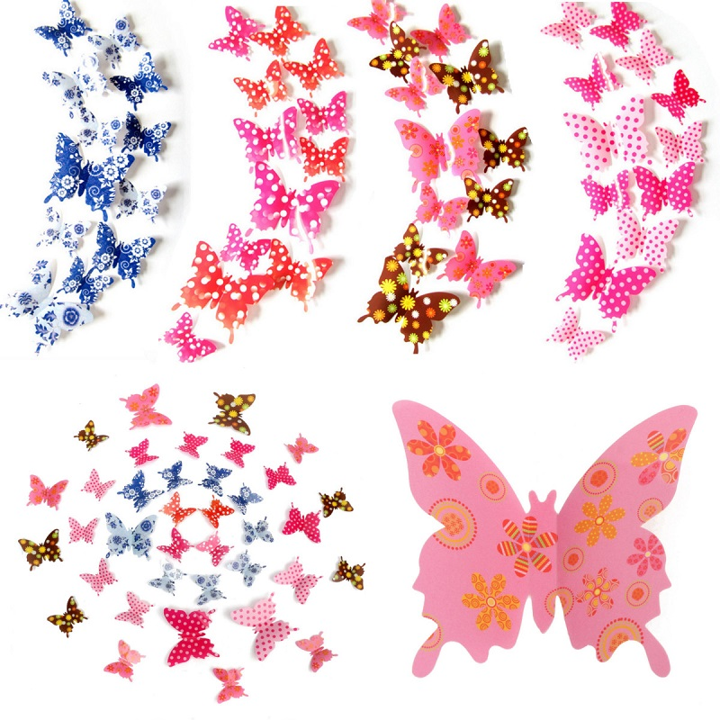 12Pcs 3D Butterfly Shape Dot Colorful Wall Stickers Art Decals Home Wedding Party Decoration