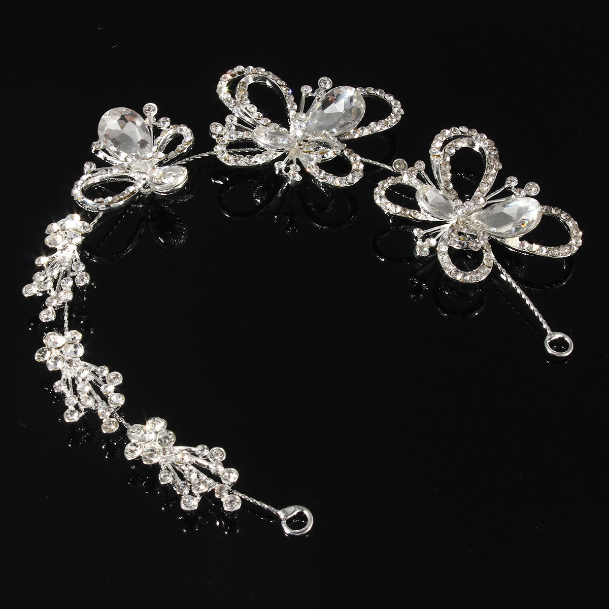 Bride Butterfly Rhinestone Crystal Bridal Tiara Wedding Hair Band Crown Headpiece
