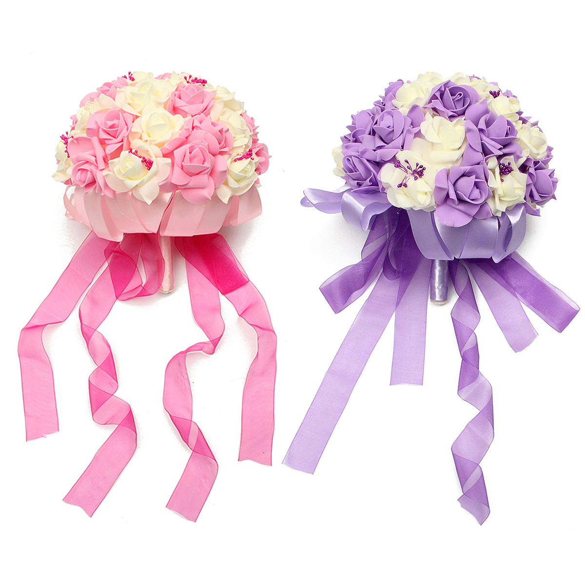 Bride Artificial Foam Roses Bouquet Pink Purple Silk Ribbon Wedding Bridesmaid Flower Girls