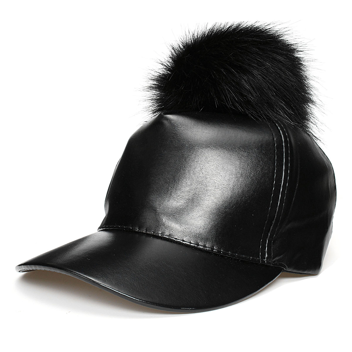 Women Ladies Black PU Leather Baseball Cap Adjustable Artificial Fur Ball Hats