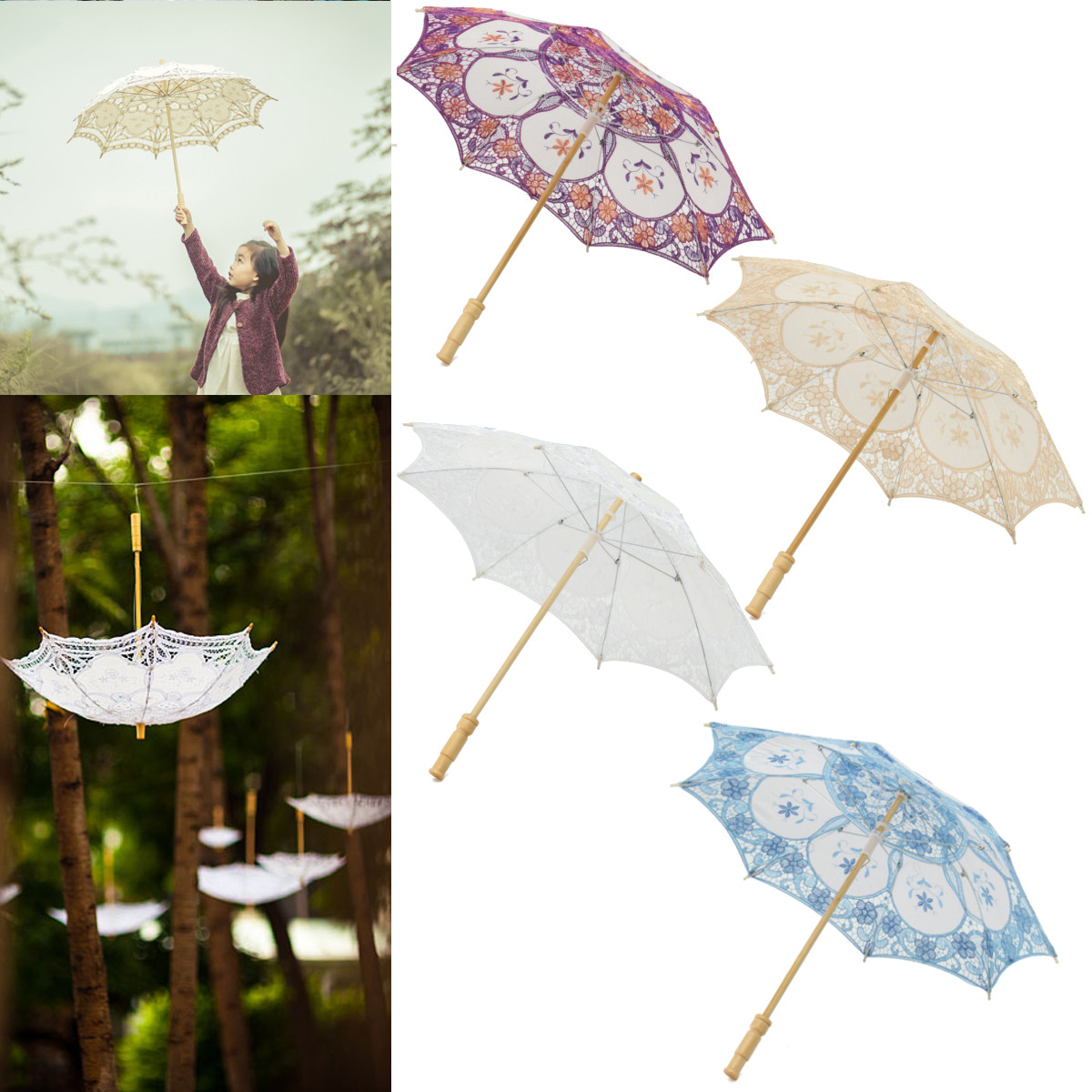 52CM Lace Elegant Embroidered Parasol Umbrella For Bridal Wedding Party Prop Decoration