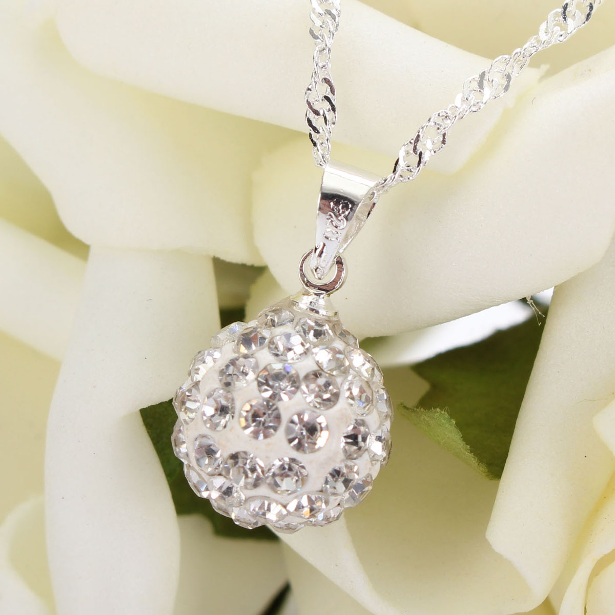 Silver Chain Crystal Rhinestone Ball Pendant Necklace