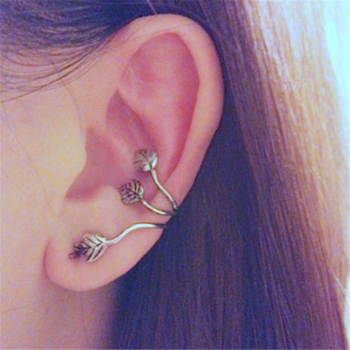 1pc Punk Triple Leaf Alloy Earring Clips Ear Cuff Silver Plated Jewelry Gift for Women