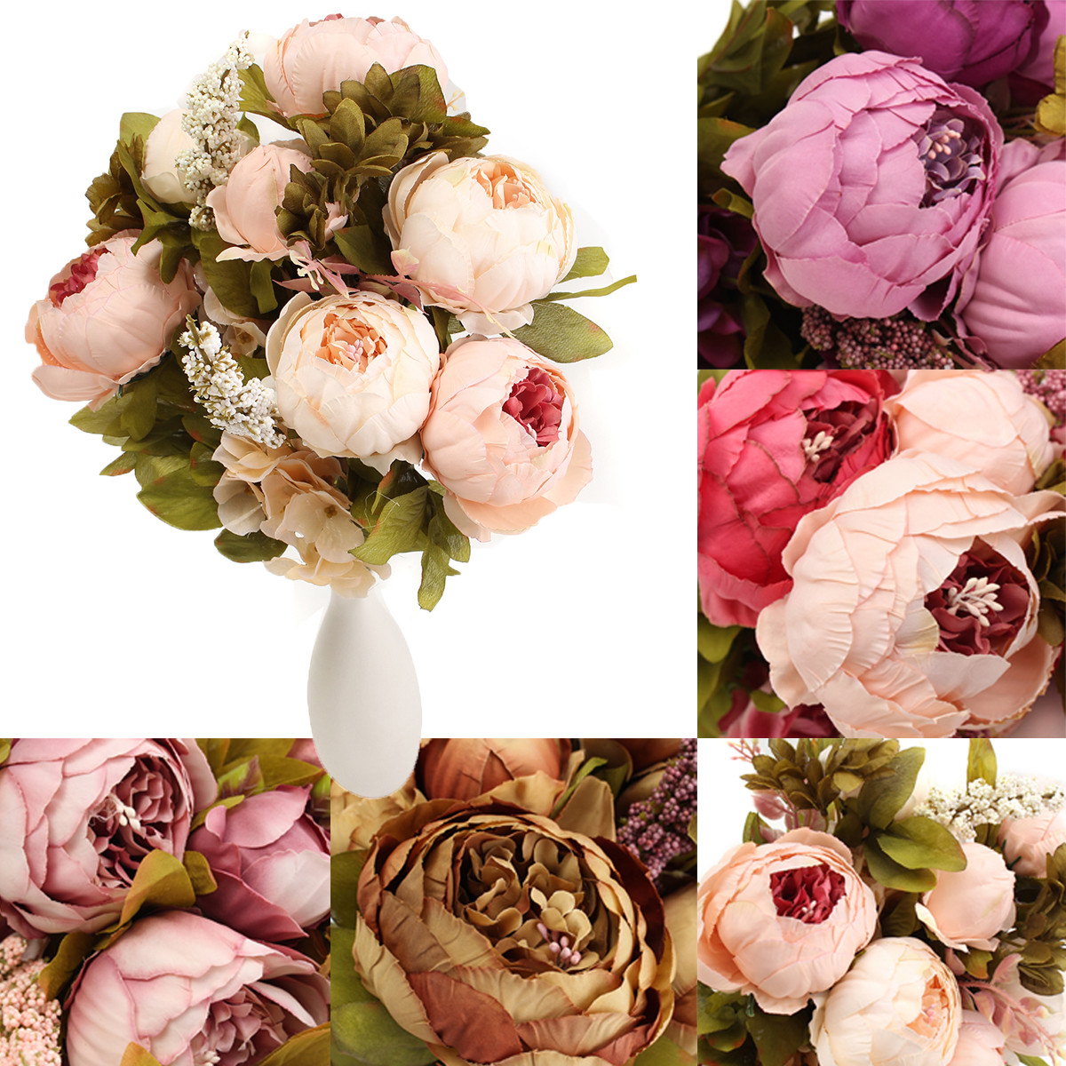 Bride Peony Silk Flowers Artificial Bouquet Bridal Wedding Party Home Decoration