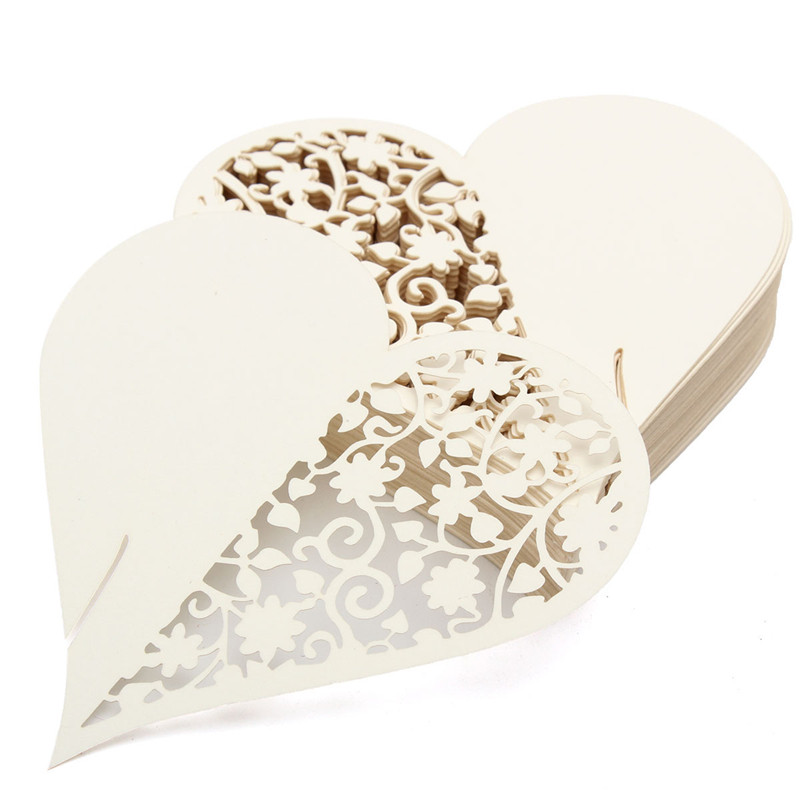 50Pcs Heart Laser Cut Pearlescent Paper Wedding Name Place Cards Wine Glass Party Accessories