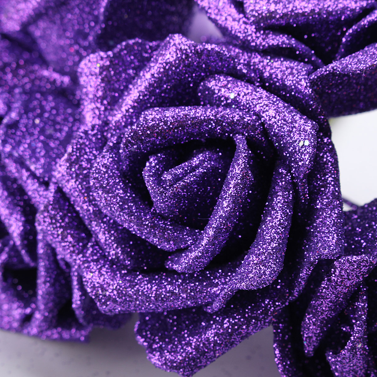 7Pcs Artificial Bouquet Glitter Foam Artificial Flowers Wedding Bridal Party Decor DIY Rose
