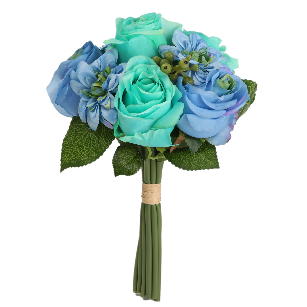 Bride Silk Rose Dahlia Bouquet Artificial Flower Wedding Party Supply Home Decoration