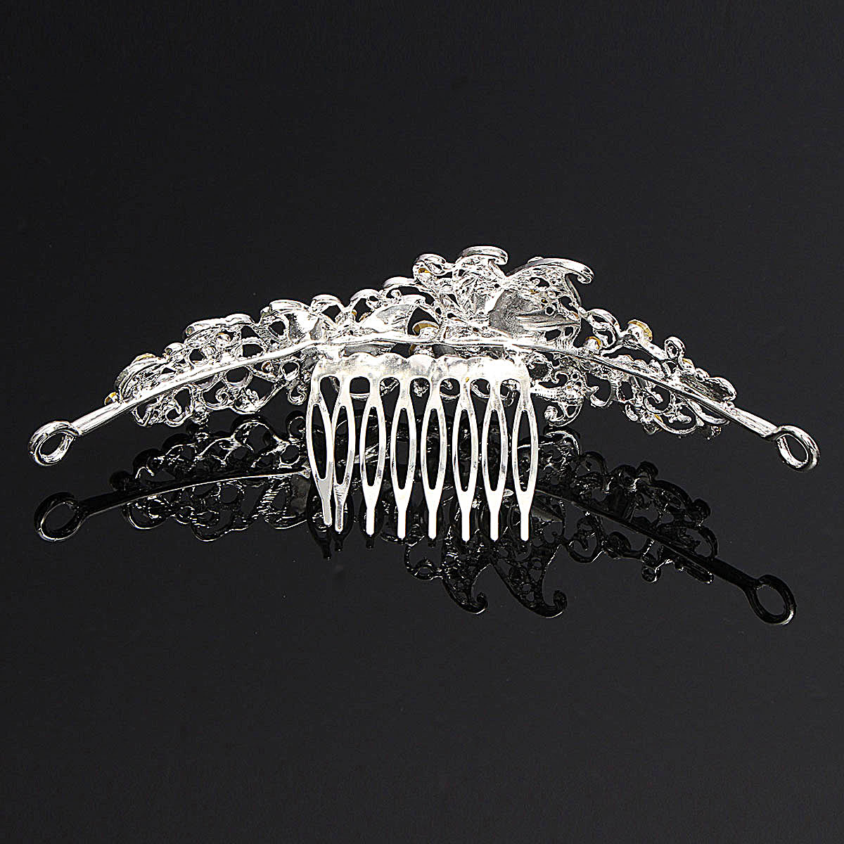 Bridal Butterfly Rhinestone Tiara Wedding Party Headpieces Shiny Crystal Princess Crown With Comb