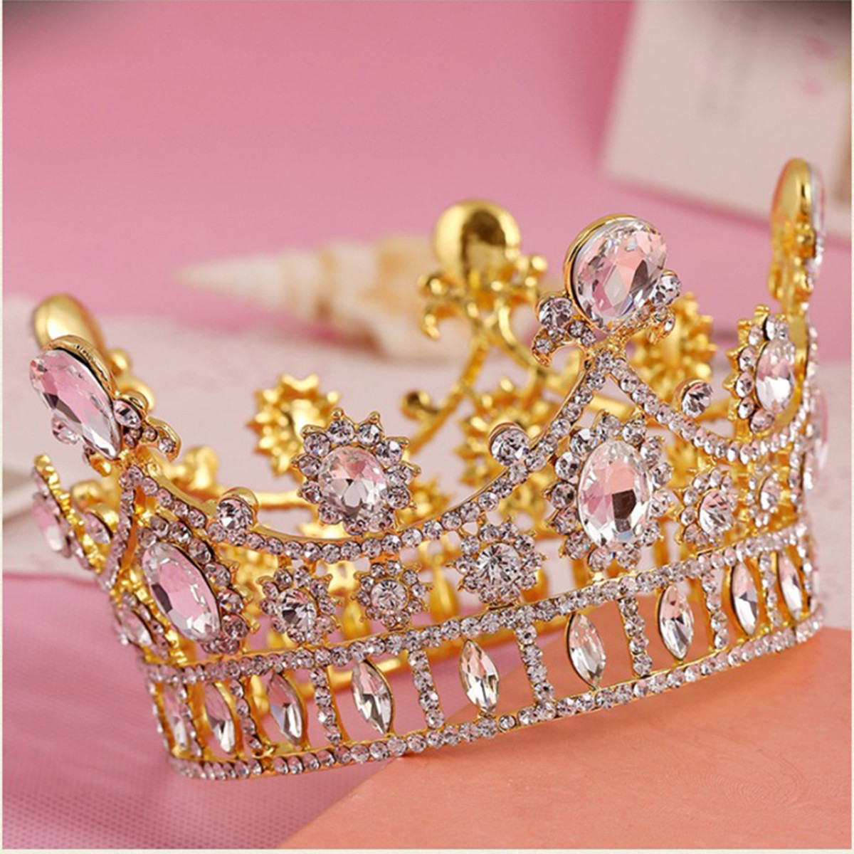 Bride Gold Princess Queen Crystal Rhinestone Tiara Crown Wedding Bridal Prom Party Headbrand