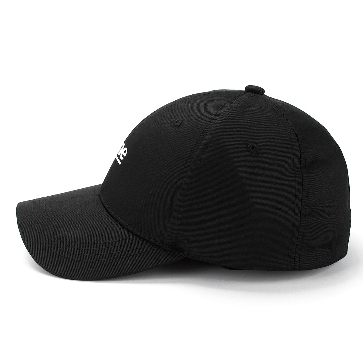 Letter Black Hat Hip-hop Kpop Curved Strap Back Baseball Cap Adjustable for Women Men