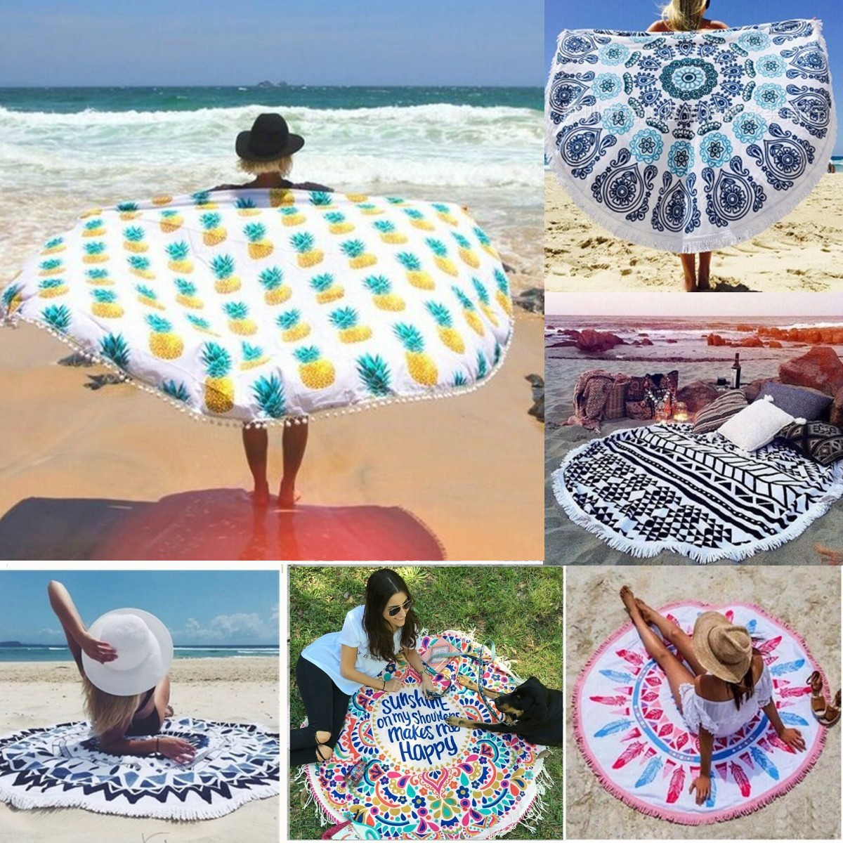 150CM Pineapple Pattern Round Yoga Mat Beach Printing Towel Shawl Wall Hanging Tapestry