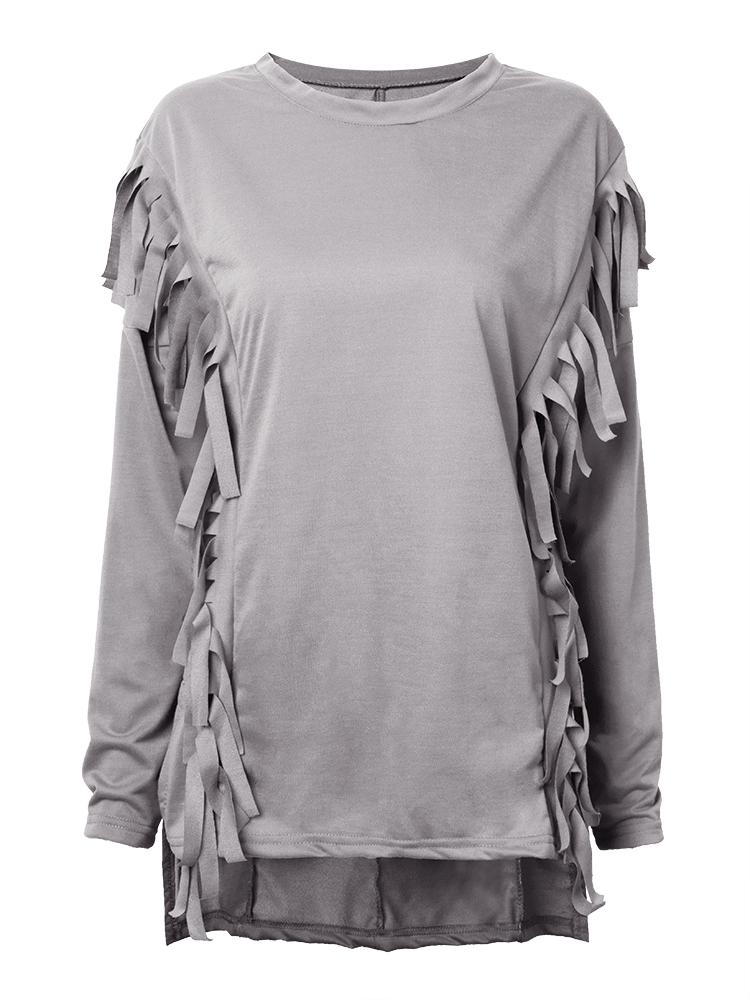 Casual Women Batwing Sleeve Tassel Patchwork Split Irregular T-shirt