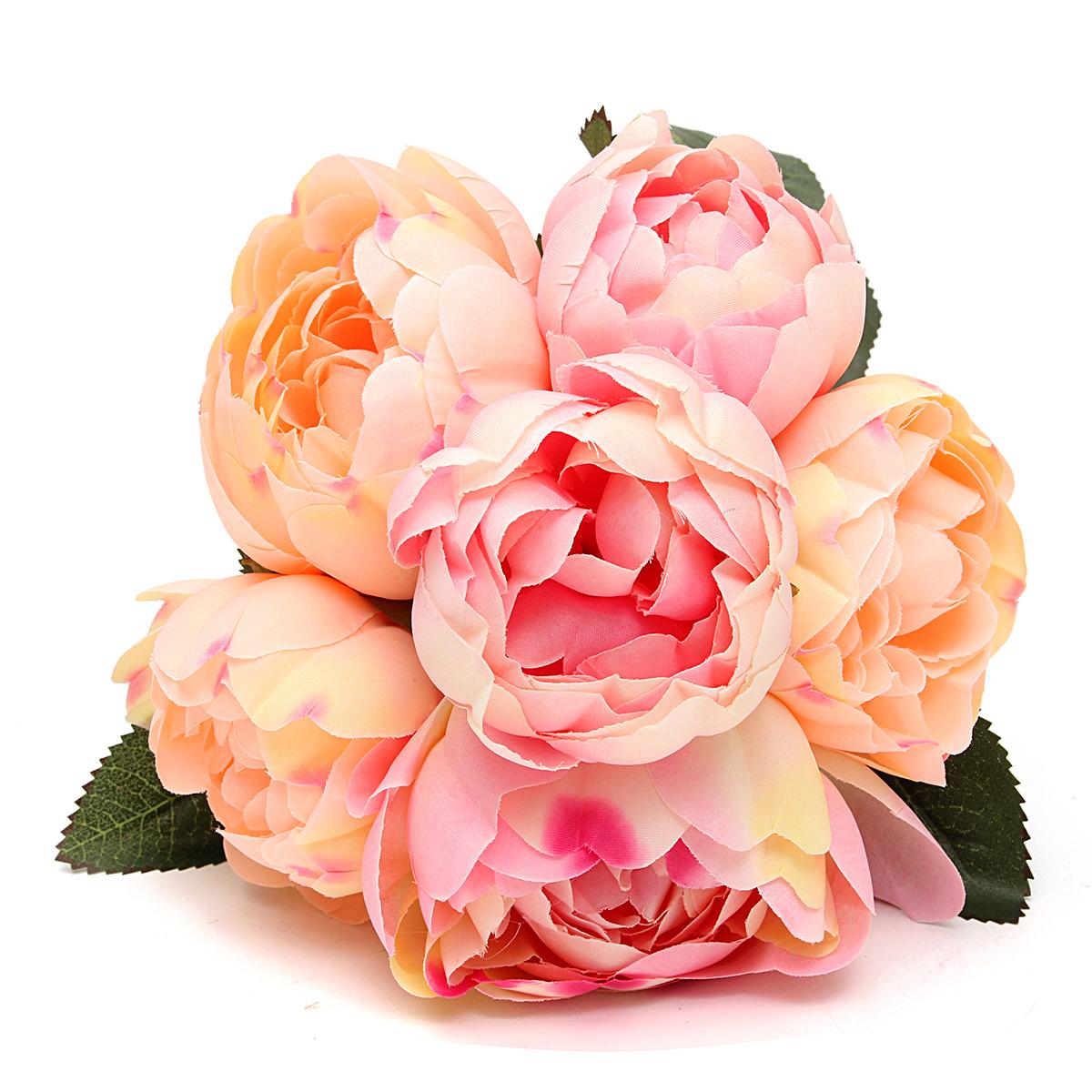 6Pcs/Pack Artificial Fake Peony Silk Flower Bridal Hydrangea Home Wedding Garden Decoration