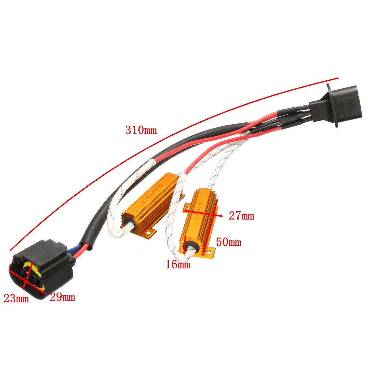 H13 9008 HID LED Fog Running Light DRL Resistor Harness Adapter Adaptor Kit