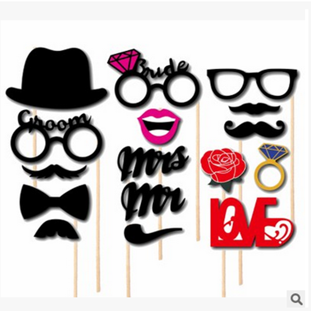 76Pcs Photo Mustache Stick Booth Wedding Prop Welcome Mask Props Wedding Party Decoration