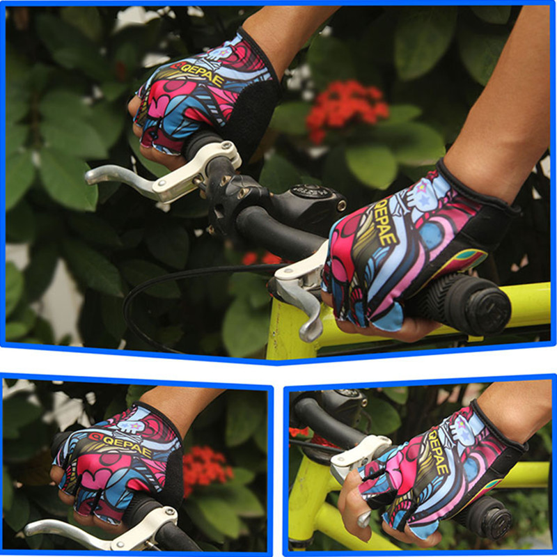 QEPAE Half Finger Gloves Outdoor Sports Riding Mountain Bike Fingerless Breathable Mittens