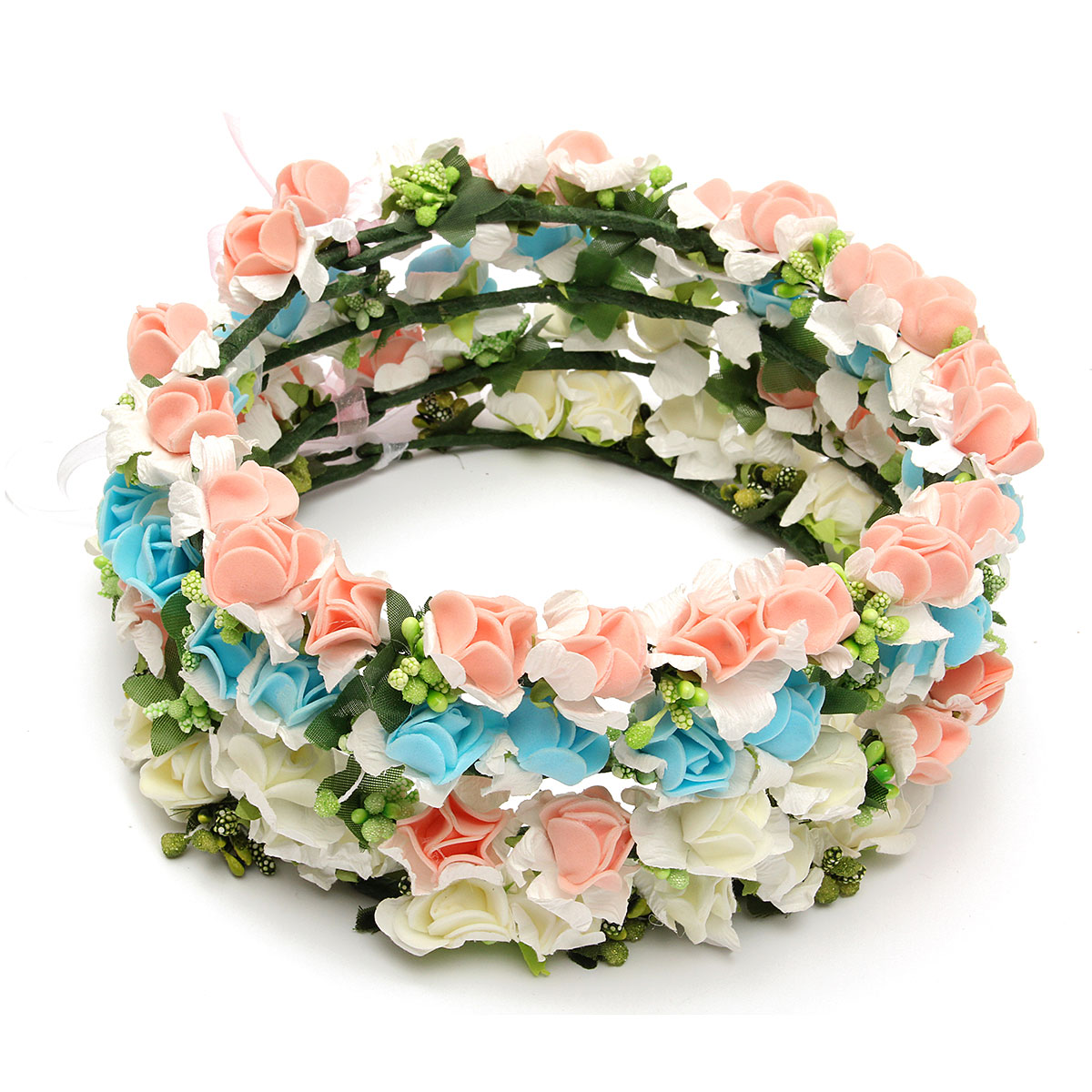 1Pcs Bride Girl Rose Flower Crown Headband Wedding Prom Beach Floral Garland Hairband