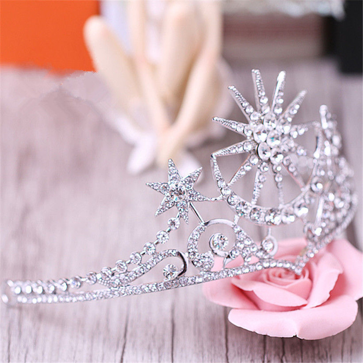 Bride Star Moon Queen Crystal Crown Tiara Wedding Bridal Party Prom Headbrand Hair Jewelry