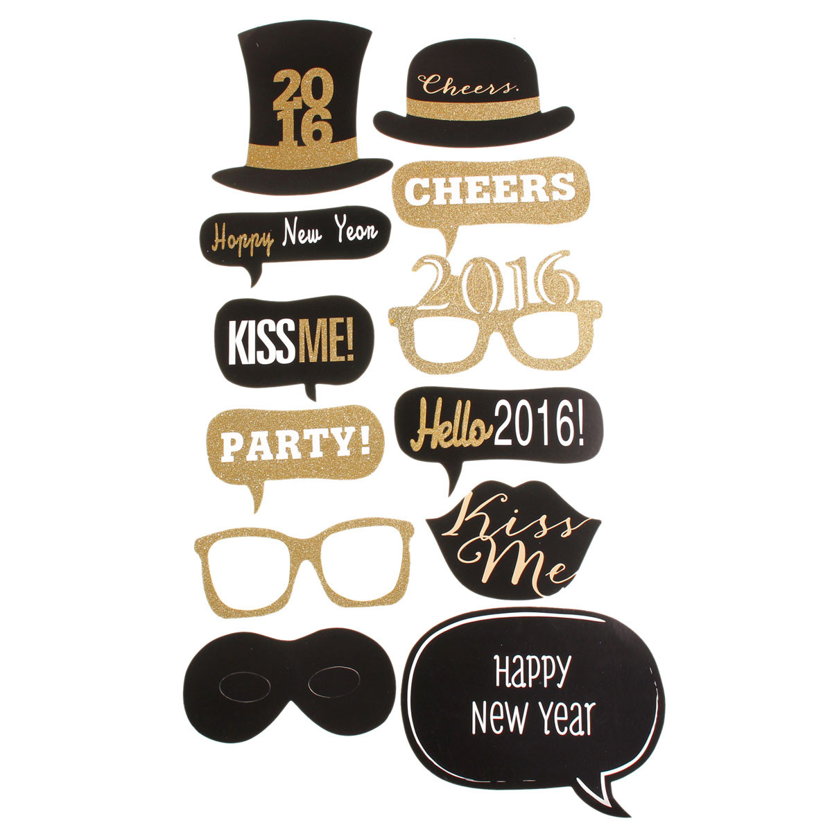 32PCS DIY Mask Gold Photo Booth Props Mustache Stick Wedding Birthday Party Favor Decoration