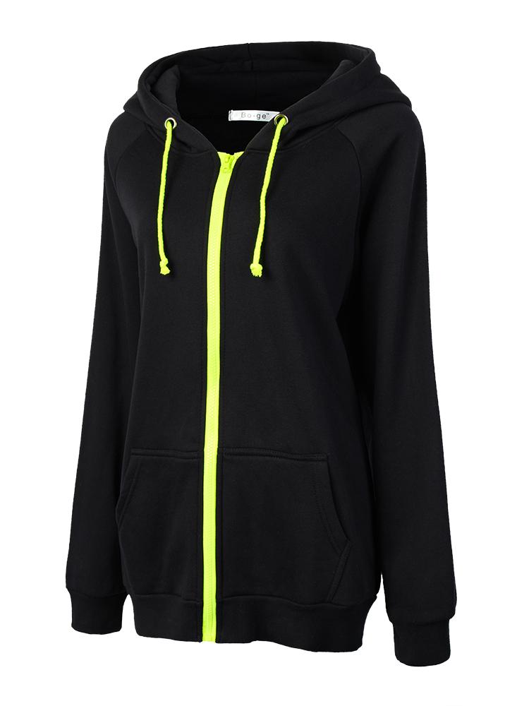 Women Zipper Solid Drawstring Long Sleeve Hooded Sweatshirt