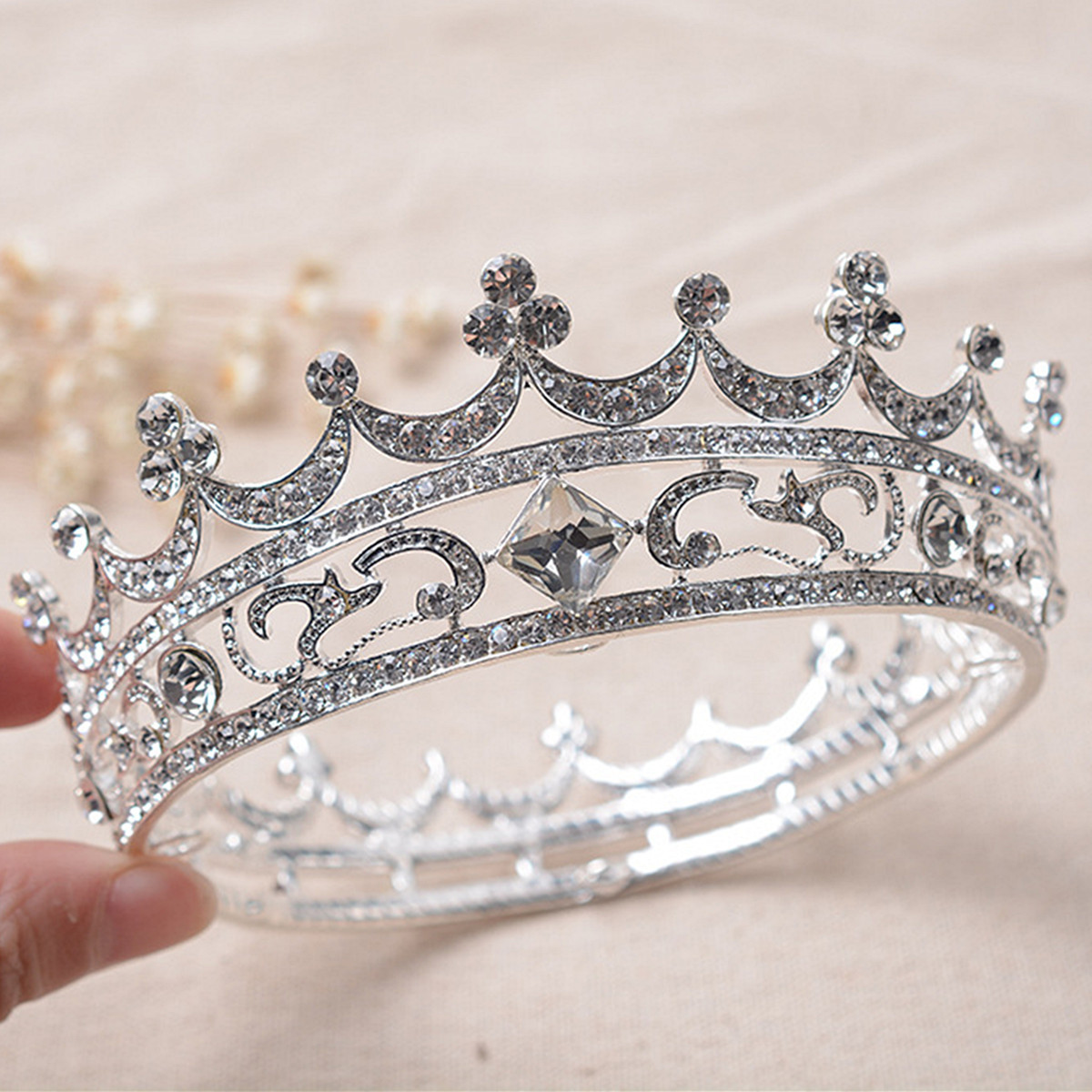 Bride Rhinestone Crystal Crown Tiara Head Jewelry Princess Queen Headpiece Wedding Accessories