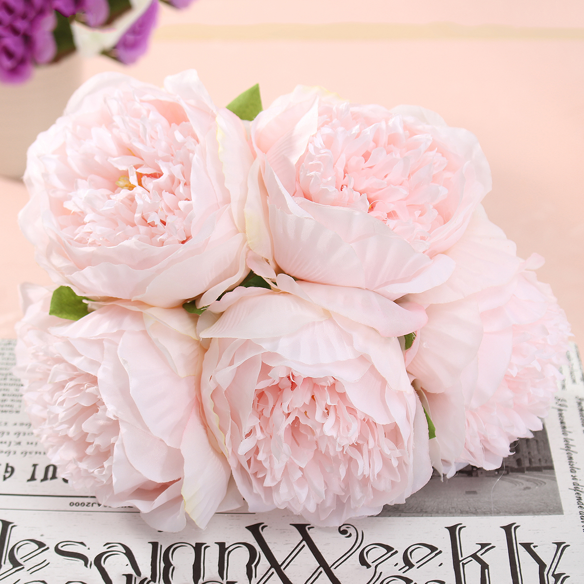 5 Heads Artificial Silk Peony Flowers Wedding Bride Hydrangea Bonquet Home Bedroom Decoration