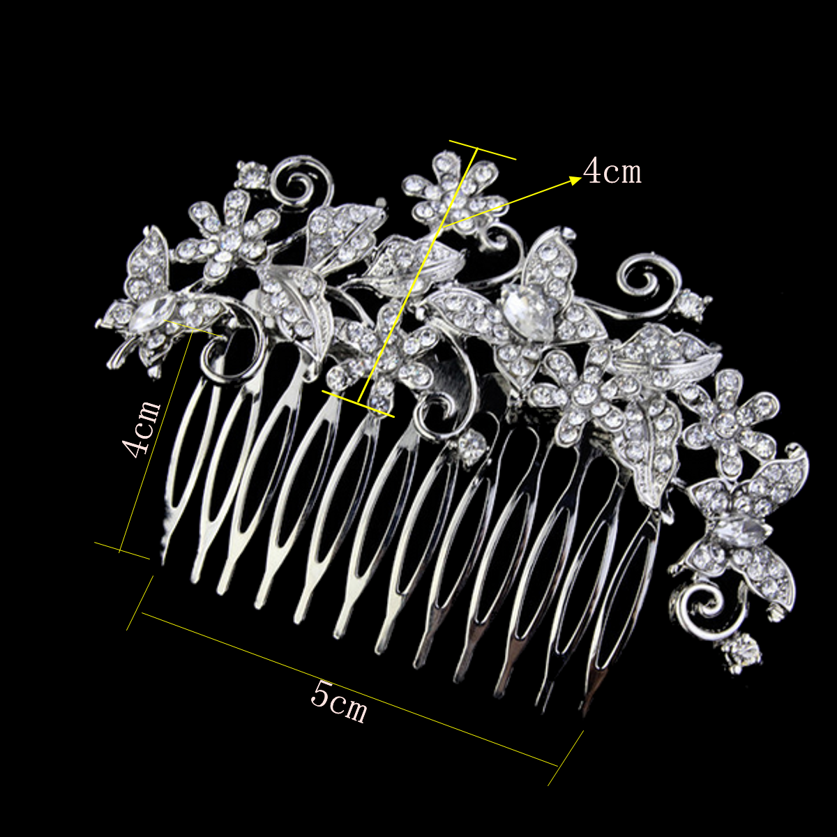 Bride Butterfly Flower Crystal Rhinestone Alloy Hair Clip Comb Wedding Bridal Headpiece Accessories
