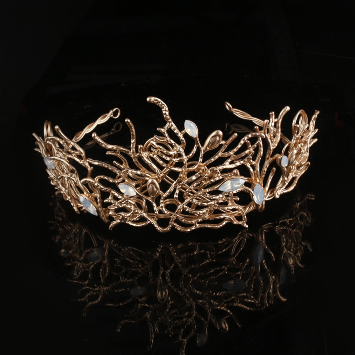 Bride Gold Rhinestone Crystal Coral Shape Crown Princess Queen Tiara Wedding Party Prom Headpiece