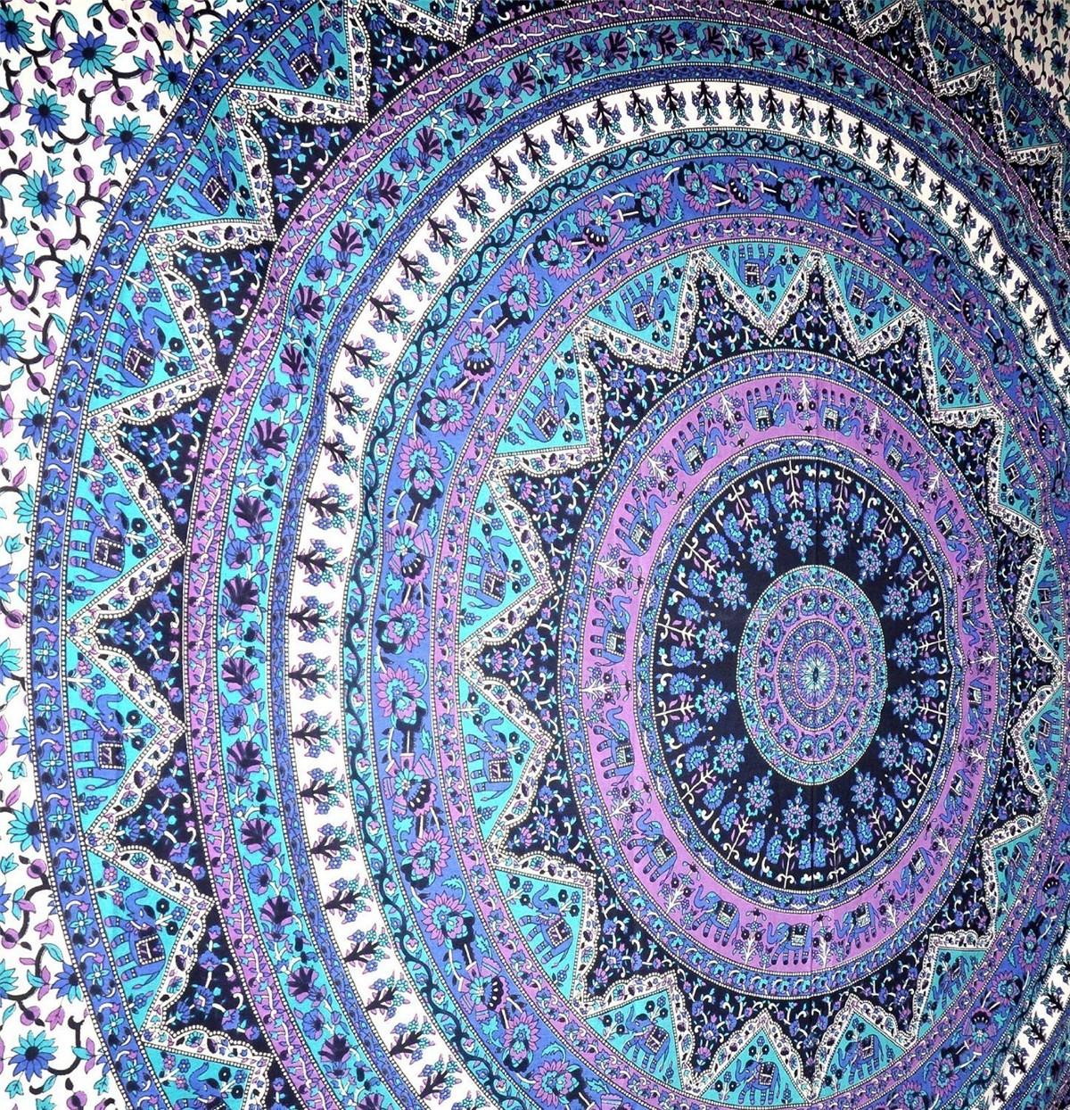175CM Bohemia Round Yoga Blue Purple Mat Beach Printing Throw Towel Shawl Wall Hanging Tapestry