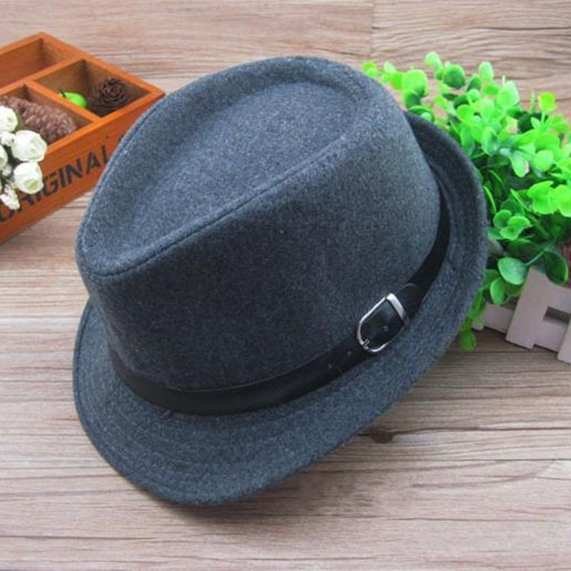 Vintage Kids Boys Girls Wool Blend Brim Flat Top Fedora Hat Trilby Jazz Cap
