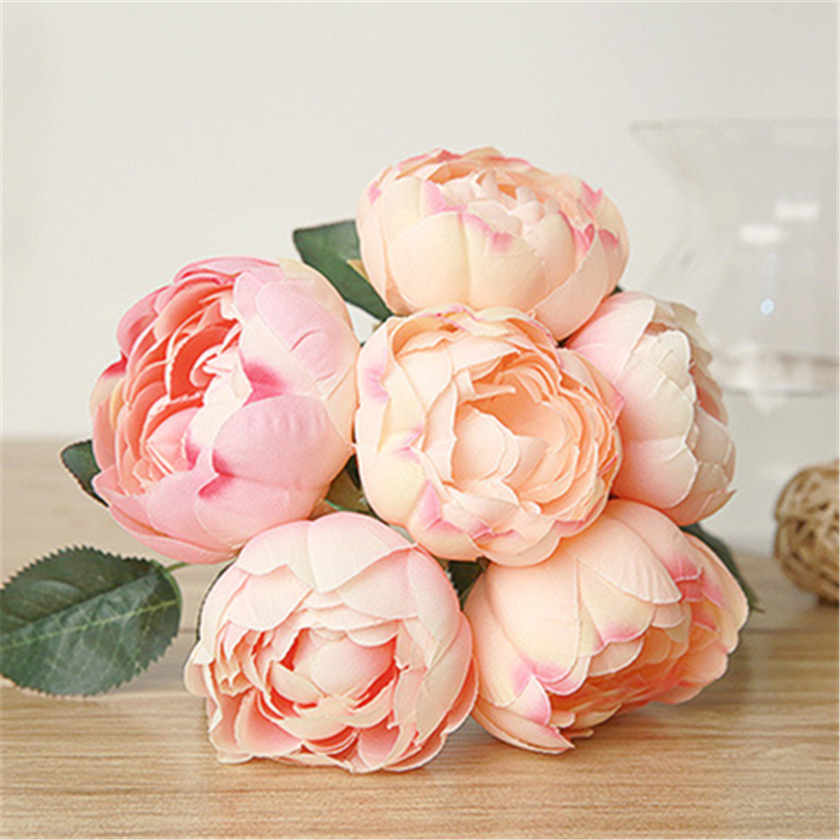 6Pcs/Pack Artificial Fake Peony Silk Flower Bridal Hydrangea Home Wedding Garden Decoration