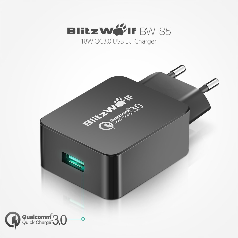 BlitzWolf BW-FWC4 5W 7.5W 10W Fast Wireless Charger Charging Pad+BW-S5 QC3.0 18W USB Charger