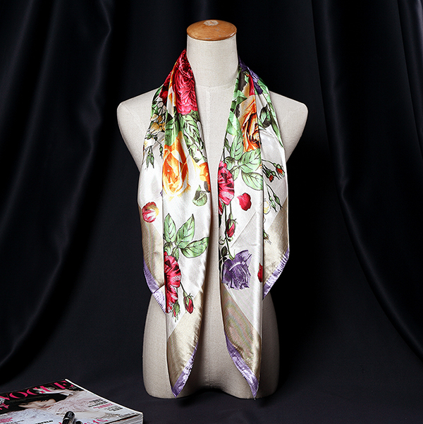 90*90CM Women Ladies Flower Printed Satin Square Floral Headbrand Multifunctional Scarf Shawls