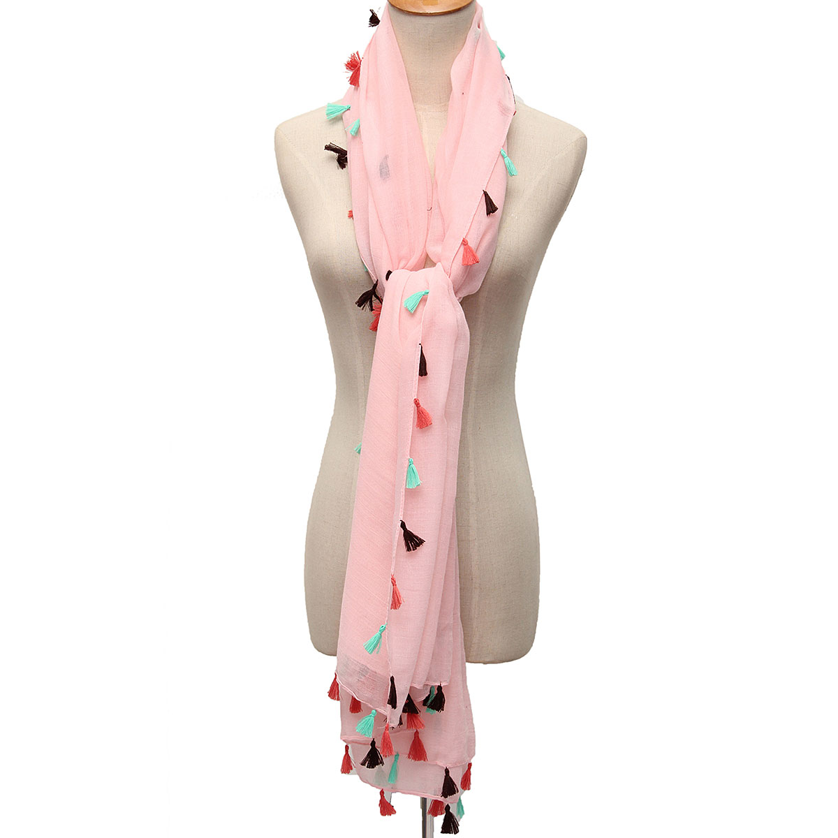 Women Ladies Voile Tassel Pure Color Scarves Soft Wrap Winter Warm Long Shawl