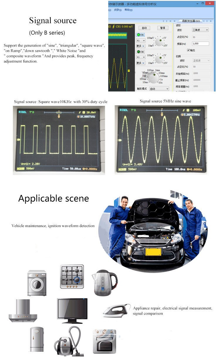 MDSO ISDS205A 2CH 20MHz 48MSa/s Virtual PC USB Oscilloscope FFT Analyzer Data Logger