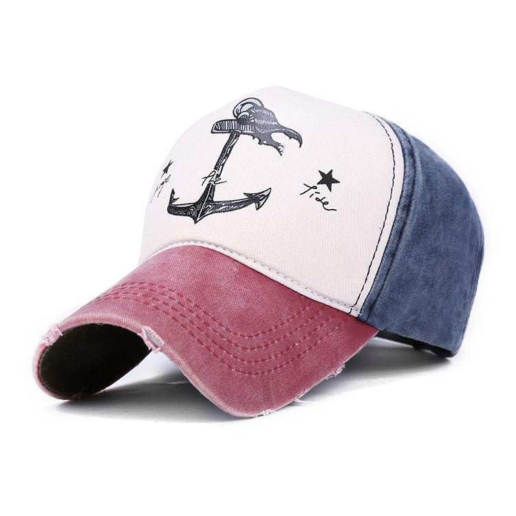 Unisex Men Women Cotton Blend Washed Anchors Printed Baseball Cap Adjustable Snapback Hat