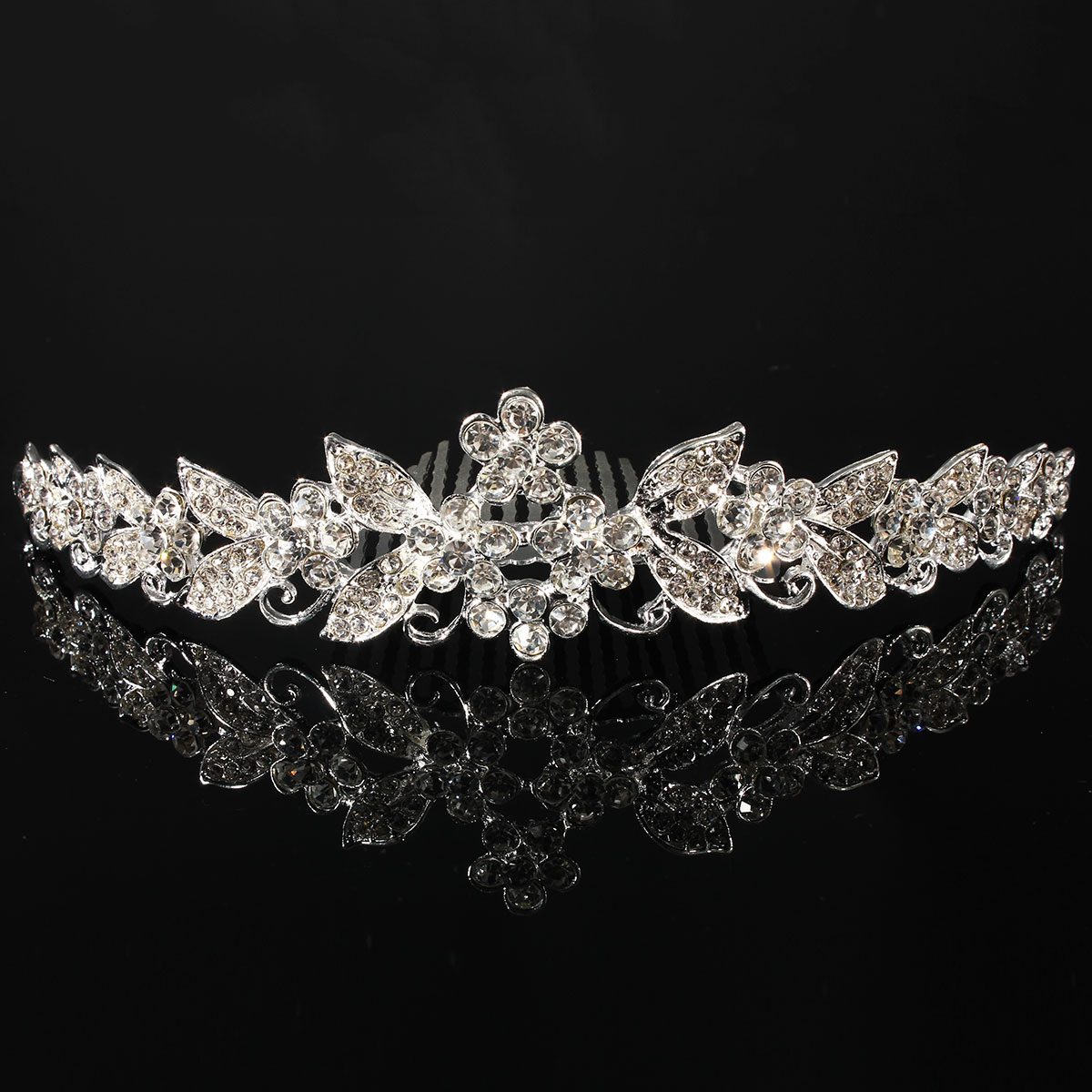 Bride Flower Leaf Rhinestone Crystal Headpiece Bridal Wedding Crown Tiara Hair Band With Comb