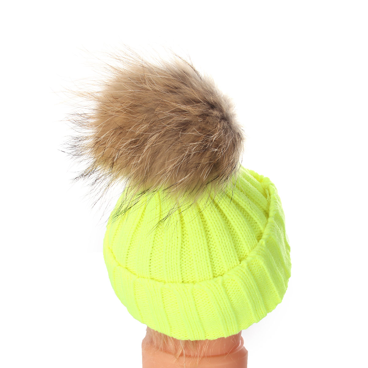 Kids Boy Girl Knit Raccoon Fur Winter Warm Pom Bobble Hat Crochet Beanie Ski Cap