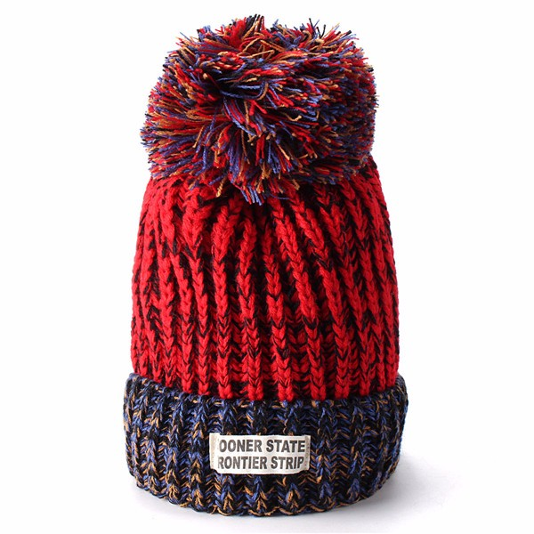 Women Ladies Woolen Knitting Ball Beanie Hat Knitted Warm Hat Ski Wool Cap