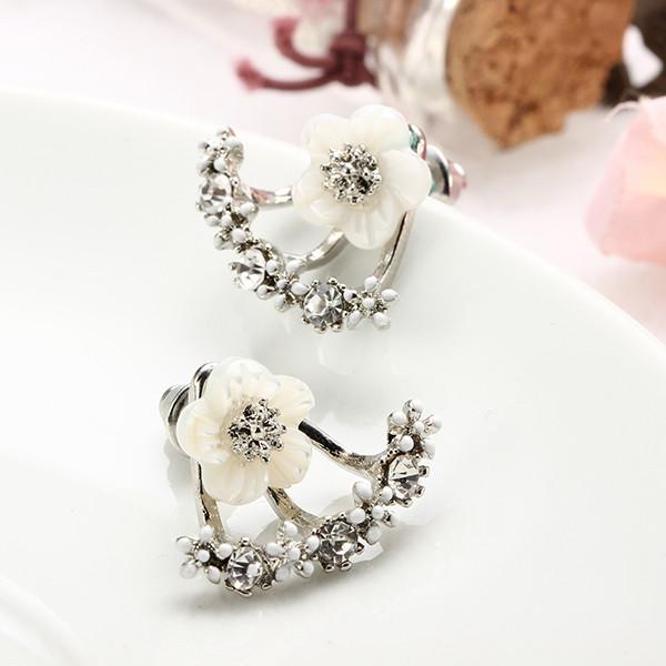 Cute Daisy Flower Crystal 925 Silver Needle Ear Stud Earrings For Women