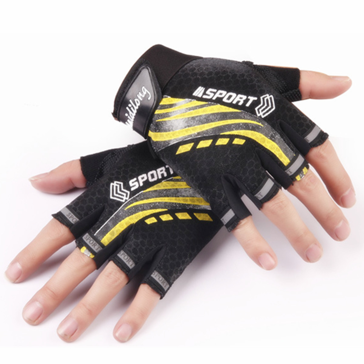 Unisex Microfiber Cycling Bicycle Half Finger Gloves Gym Outdoor Sport Fingerless Mittens
