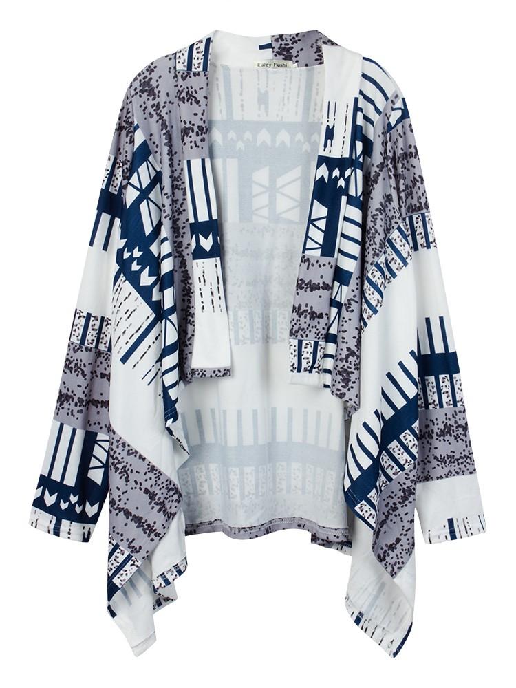 Women Casual Stripe Printing Long Sleeve Irregular Cardigan