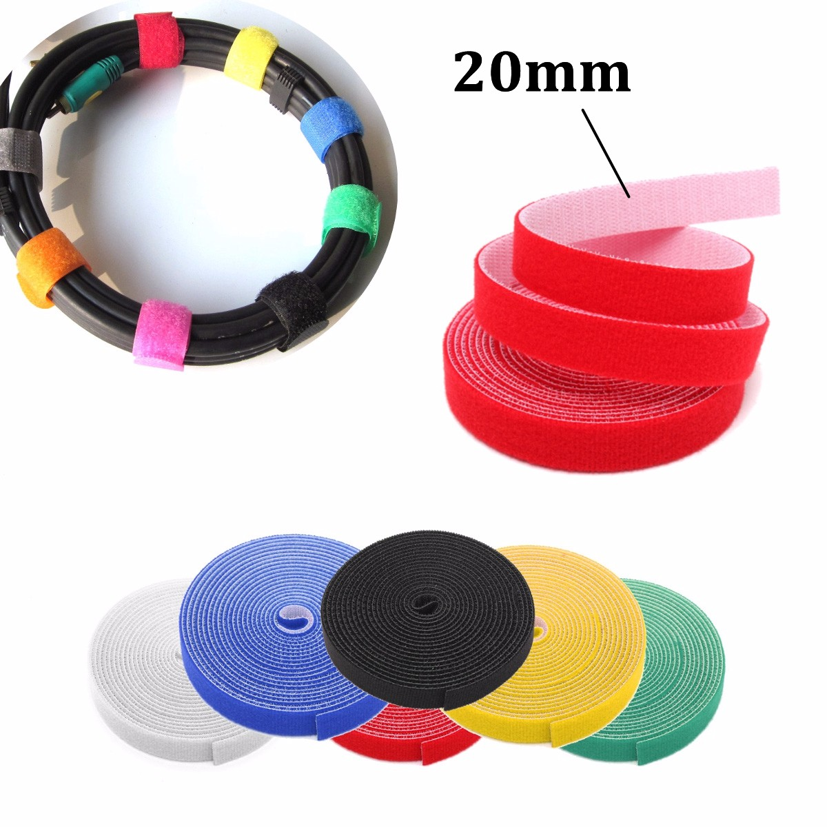 20mm 4.5m Multifunctional Self Adhesive Magic Stick Loop Tape Fasten Stick Cable Tie
