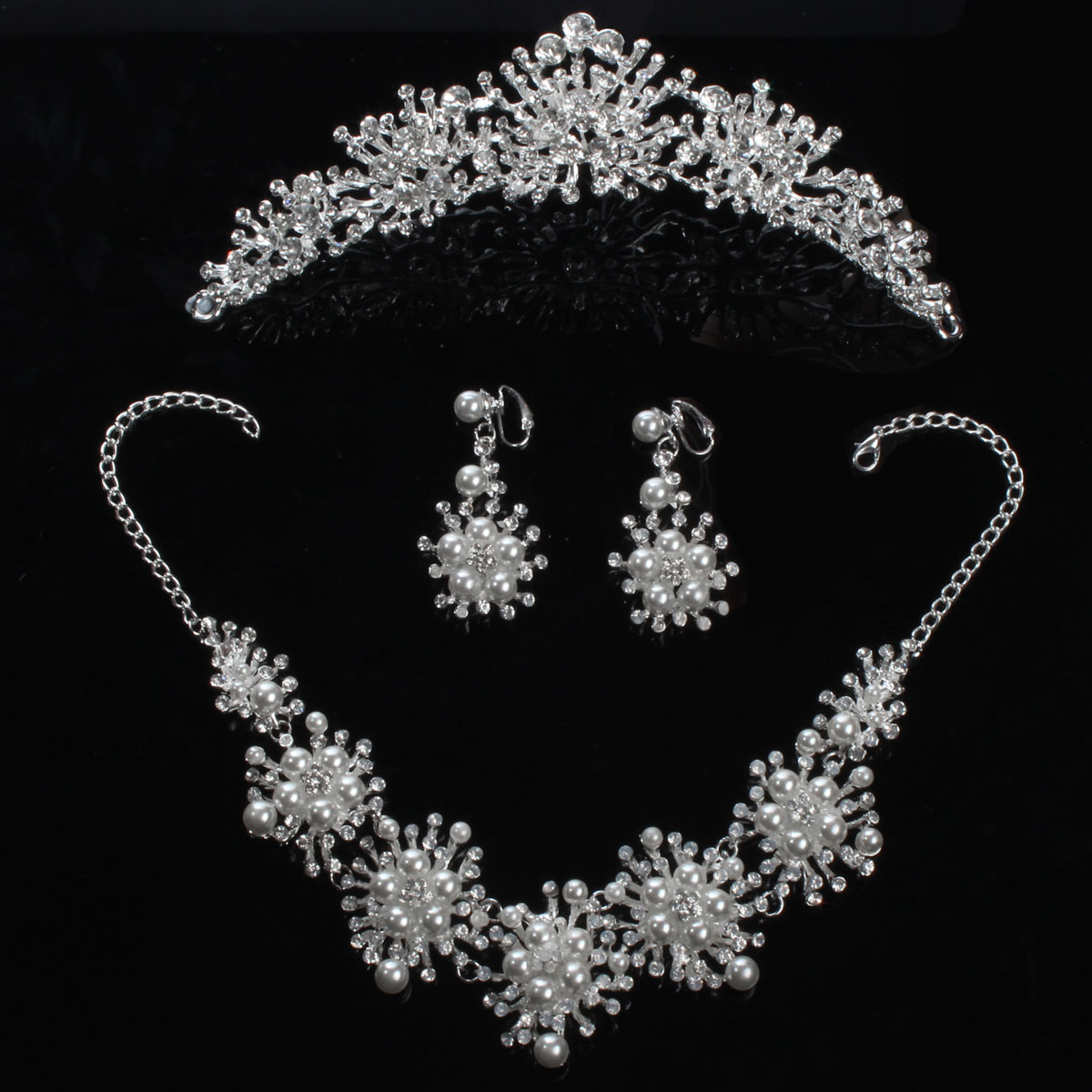 Bride Rhinestone Pearl Crown Necklace Earrings Bridal Wedding Jewelry Set Dress Accessories