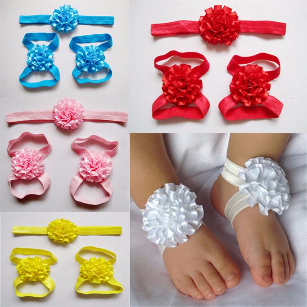 Kids Baby Girl Infants Feet Accessories Flower Barefoot Sandals Floral Hairwear Headbrand Photography Props Set
