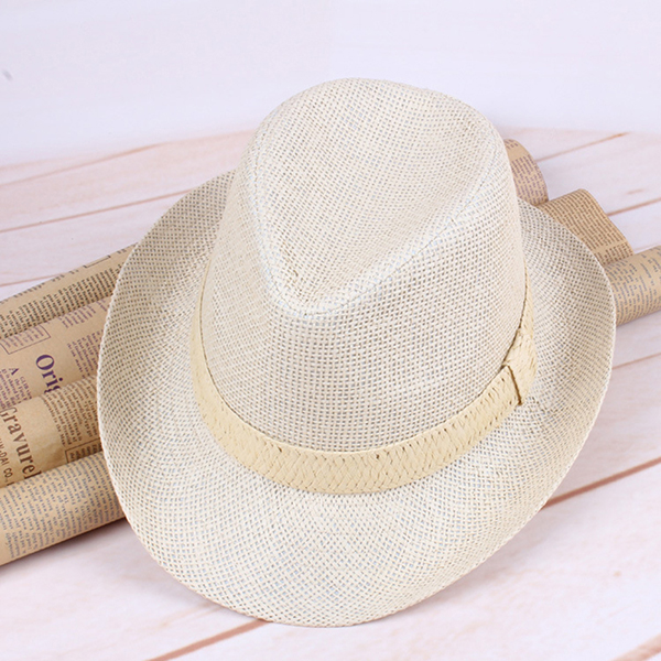 Mens Summer Breathable Straw Sun Hats Fedora Trilby Gangster Cap Casual Sunscreen Beach Hat