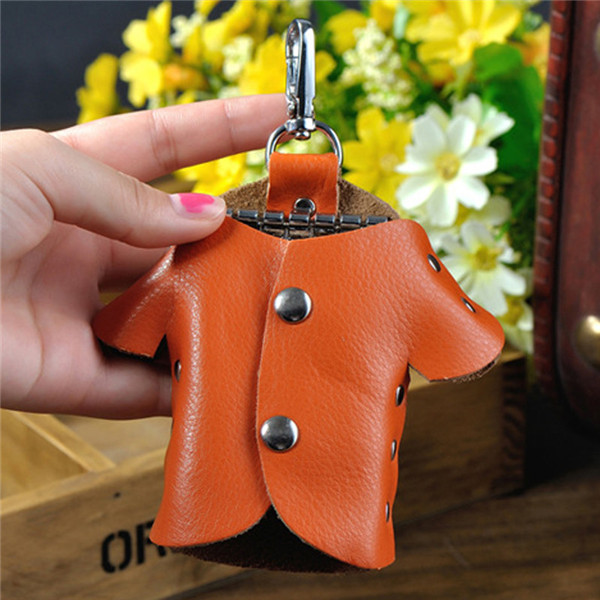 Women Genuine Leather Clothes Pattern Key Bags Portable Hanging Key Chain Holder